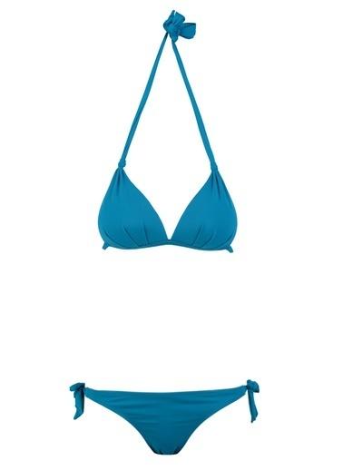 Loves You Yarı Dolgulu Üçgen Bikini Takım Turkuaz